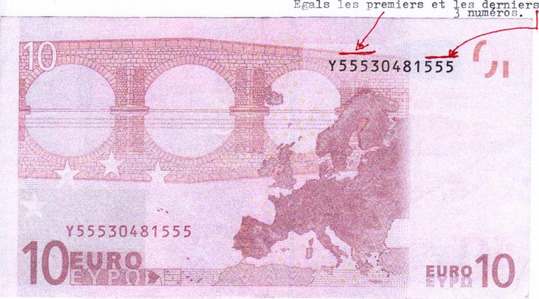 007964d1ea Tre numeri uguali all'inizio ed alla fine della banconota da 10 euro,