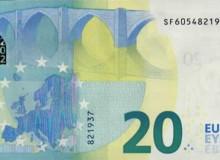 """Banconota 20€ serie """"Europa"""" della Banca d'Italia con tutte le cifre presenti (da 0 a 9)."""