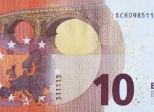 Banconota da 10 € con palindromo breve verticale, formato solo dai numeri 5 e 1.