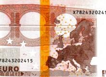 Banconota da 10 € 1ª serie della Germania con banda di colore giallo vivo.