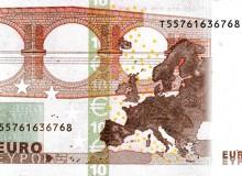 Banconota da 10 € 1ª serie dell'Irlanda con banda di colore verde chiaro.