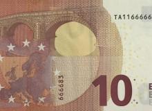 """Banconota 10€ serie """"Europa"""" della Banca d'Irlanda con sei cifre eguali al centro."""