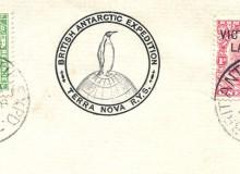 Busta ricordo con i due francobolli annullati il 18/01/1913 e con il timbro speciale in dotazione alla nave Terra Nova.