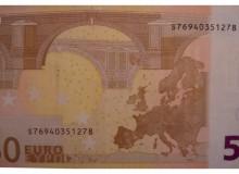 Banconota italiana da 50 €, vecchio tipo, con la presenza di tutti i numeri da 0 a 9.