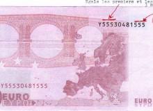 Tre numeri uguali all'inizio ed alla fine della banconota da 10 euro,