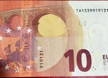 """IRLANDA - Banconota serie """"Europa"""" da 10 € con solo tre cifre (............31)."""