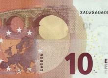 """Banconota tedesca da 10 € serie """"Europa"""" con tutti numeri pari."""
