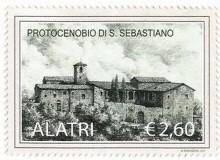 Il Protocenobio di S. Sebastiano in un bel francobollo privato, opera del Prof. Mario Ritarossi.
