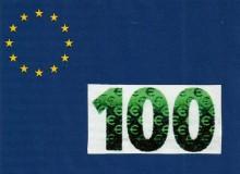 """Il numero di colore cangiante sulla banconota da 100 € serie """"Europa""""."""