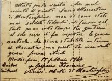 Particolare di uno scritto storico originale dell'abate Diamare che dichiara non esserci nell'Abbazia alcun soldato tedesco.
