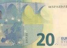 """Banconota da 20 € (serie """"Europa"""") con """"radar"""" composto da 4 numeri."""