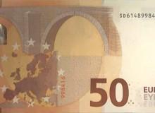 """Banconota da 50 € (serie """"Europa"""") con """"radar"""" composto dal massimo dei 5 numeri. Una delle prime banconote reperite."""