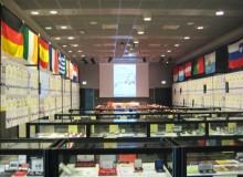 """La sala Polissena allestita con la Mostra """"Conoscere l'Euro"""""""