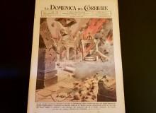 """""""La Domenica del Corriere"""", originale del 27/2/1944 con la distruzione del Chiostro del Paradiso di Montecassino."""