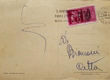"""Norcia 1958 - Cartolina con annullo speciale meccanico e scritta """"S. Benedetto Padre d'Europa""""."""