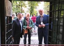 Pronti per la partenza: (da sinistra) il curatore della Mostra Vincenzo Marocco, il disegnatore Sandro Scascitelli e l'assessore alla cultura Dr. Carlo Fantini.