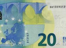 """Banconota da 20 € d'Italia serie """"Europa"""" con la presenza di tutte le cinque cifre dispari (1,3,5,7 e 9)."""