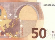"""Banconota 50 €, serie """"Europa"""", con sei cifre uguali consecutive e palindromo verticale."""