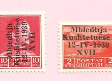 """2 francobolli (Michel 287 e 285) con la sovrastampa """"Assemblea Costituente""""."""