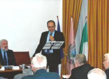Umberto MORUZZI, studioso e perito numismatico, apre la conferenza.
