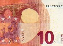 Altra banconota da 10 € con cinque numeri uguali consecutivi.