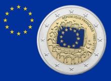 """FRANCIA 2015 - 2 euro commemorativo """"30° anniv. della bandiera europea""""."""