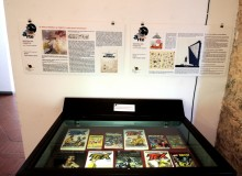 Presentazione delle tavole originali e bacheca con i fumetti contenenti la  riproduzione delle opere esposte.