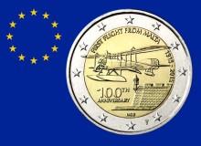 MALTA 2015 - 100° del primo volo, con segno di zecca olandese. 6° in graduatoria con i 25.000 pezzi coniati.