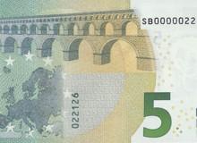 """ITALIA - Banconota serie """"Europa"""" da 5 € con cinque zero all'inizio."""