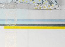 Particolare del bordo di foglio. S'intravede a sinistra la banda iridescente e l'indicazione (linea celeste con il 2) per il taglio esatto dei fogli.