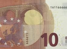 Banconota rarissima da 10 € d'Irlanda  serie Europa con palindromo composto solo da due cifre (1 e 6).