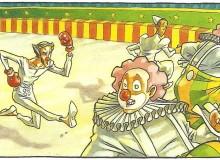 """Pietrolino ha grande successo come """"frappeur (picchiatore)"""" dei clown e..."""