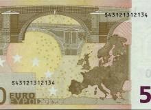 Banconota da 50 € d'Italia 1ª serie con palindromo composto dai numeri 1,2,3 e 4.