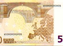 """Banconota da 50 euro con cifra """"RADAR"""", composta da soli tre numeri."""