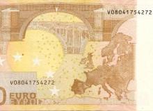 Banconota della Spagna da 50 € con spostamento a destra del numero di colore cangiante.