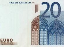 Banconota da 20 € - Il fronte con stampa della parte sinistra mancante e...