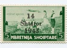 Francobollo occupazione italiana (P.A. 1940 Sassone n.5) con la sovrastampa in nero.