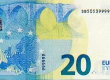 Banconota da 20 € con sei numeri finali uguali e PALINDROMO del codice breve verticale.