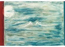 """1987 - Un'opera pittorica di Zanelli. """"Trasmigrazione verso la libertà"""", olio su tela cm 35 x 28 del 1976."""